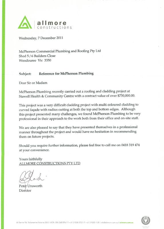 Testimonials - McPherson Commercial Plumbing
